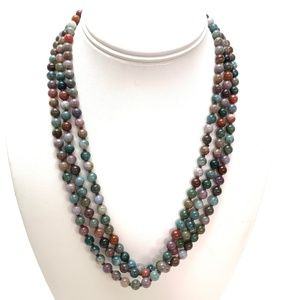 LONG Natural Gemstone Knotted Beaded Necklace